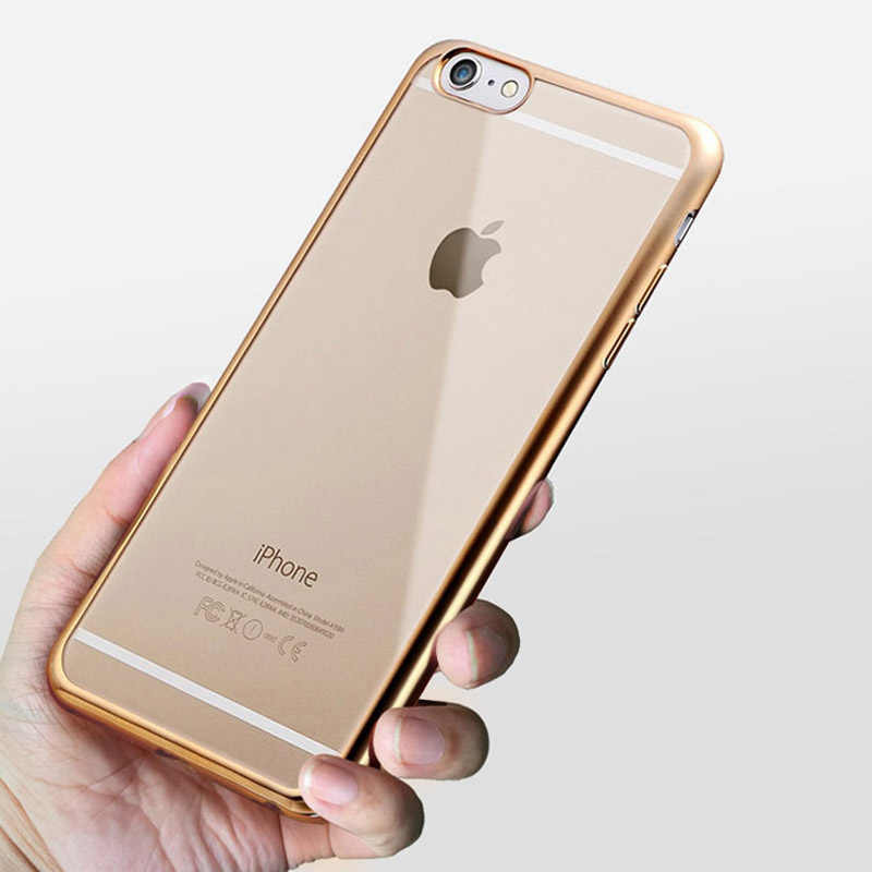 newest 4ea37 d1418 Dreamysow Luxury TPU Rose Gold Plating Crystal Clear Case For iPhone 5s 6 5  6s SE Clear Silicone Cover for iPhone 7 8 Plus X
