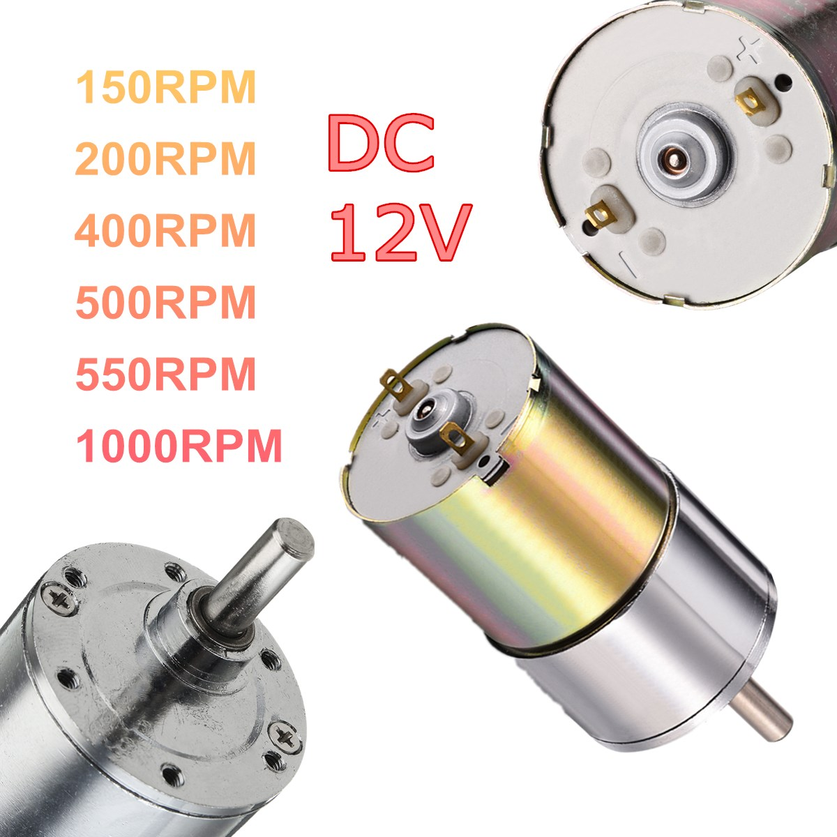 цена на DC 12V 150/200/400/500/550/1000 RPM Powerful High Torque Electric Gear Box Motor Speed Reduction