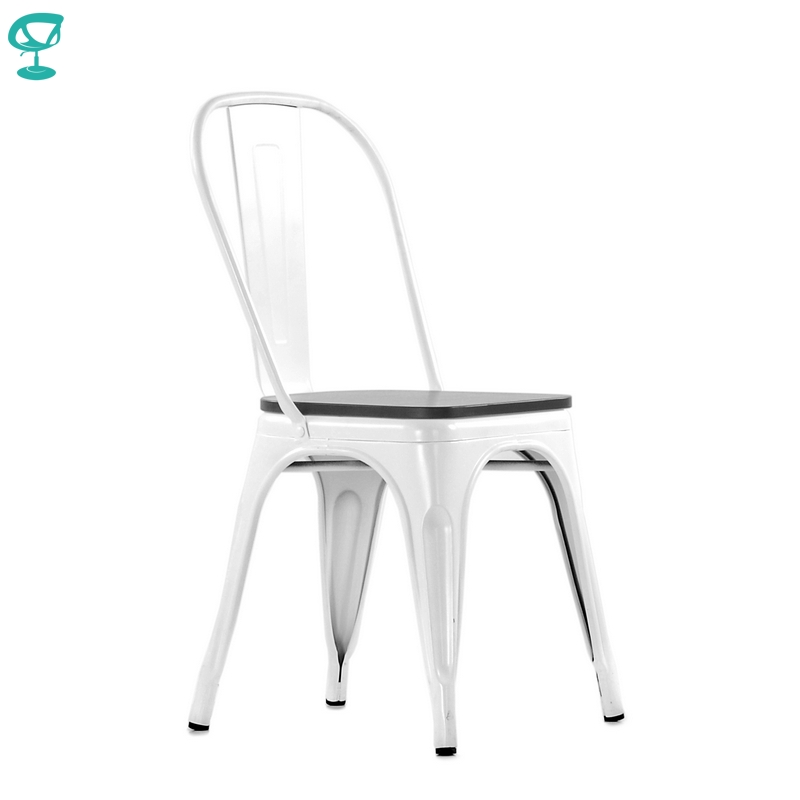 N236WhBlWood Barneo N-236 White Metal Wood Black Seat Kitchen Interior Stool Chair Kitchen Furniture Free Shipping In Russia