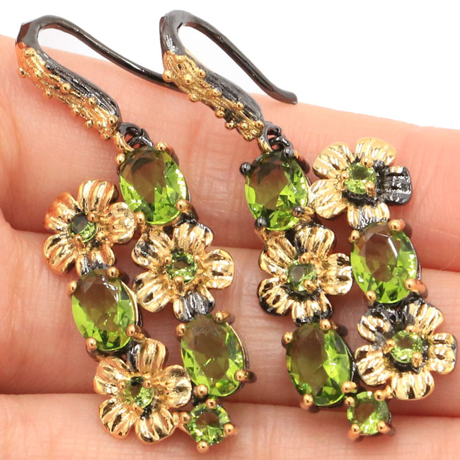 Sublime Antique Vintage Green Peridot Flower Woman's Gift Black Gold Silver Earrings 45x17mm