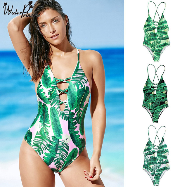 579fd96d70 Water Princess Palm Print One Pieces Swimsuit 2017 New Sexy Leaf Print  Backless Plunge Padded Bathing Suit Monokini Swimwear