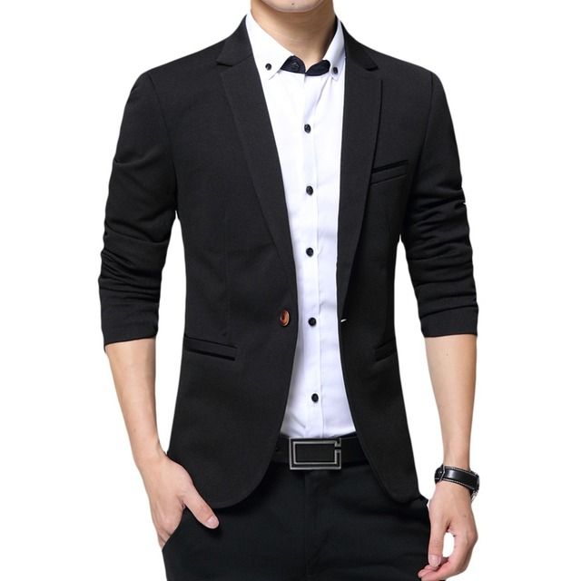 YUNCLOS 2018 New One Button Blazer for Men Casual Slim Fit Jackets High Quality Solid Color Business Men Blazer Jackets