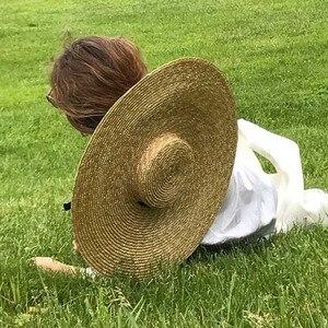 Image 2 - Elegant ธรรมชาติ 18 ซม.ฟางหมวกลูกไม้กว้าง Brim Kentucky DERBY หมวกผู้หญิงริบบิ้นสาวฤดูร้อน Sun หมวกชายหาด