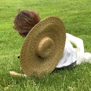 Image 2 - Elegant Natural 18cm Big Straw Hat with Lace Up Wide Brim Kentucky Derby Women Hat Ribbon Girl Summer Sun Protection Beach Hat