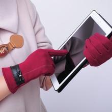Фотография Elegant Women Bowknot Winter Warm Gloves Touch Screen Full Finger Mittens Gift