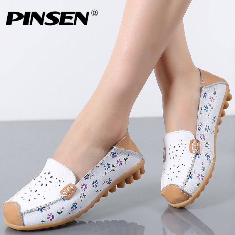 PINSEN 2019 Spring Women Flat Shoes Genuine Leather Ballet Flats Shoes Cutout Flats Ladies Slip On Loafers Nurse Boat Shoes