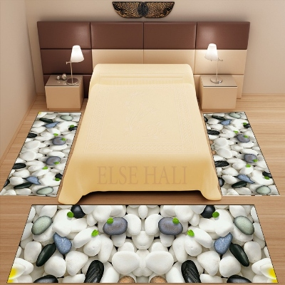Else 3 Piece Gray White Pebble Stones Nature 3d Pattern Print Non Slip Microfiber Washable Decor Bedroom Area Rug Carpet Set