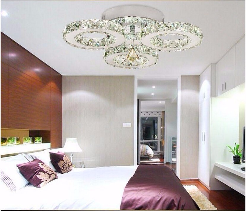 Modern Crystal LED Crystal Chandelier Crystal Lamp / Lighting Fixture LED Circle Light 36W Pendant Ceiling lamps AC95-260V silver crystal ring led chandelier crystal lamp light lighting fixture modern led circle light used for ceiling or wall 20cm