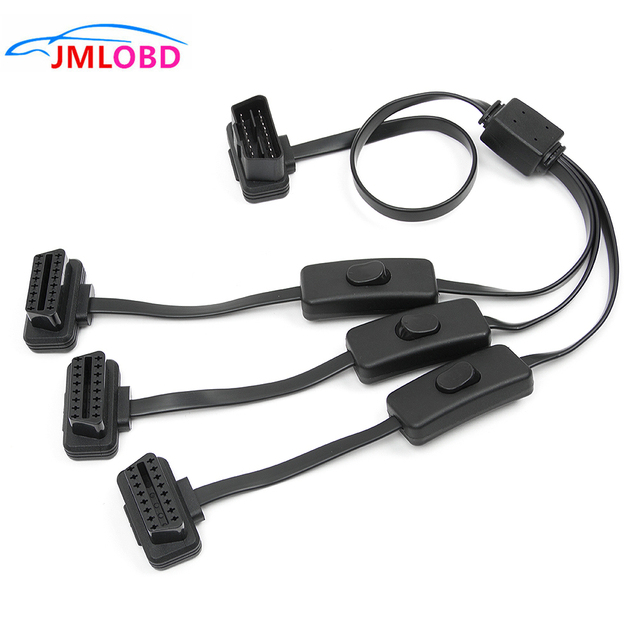2018 OBD II OBD2 16Pin Splitter Extension 1 x Male and 3 x Female Extension Cable Adapter (1 to 3 with Power Switch 2FT/60C
