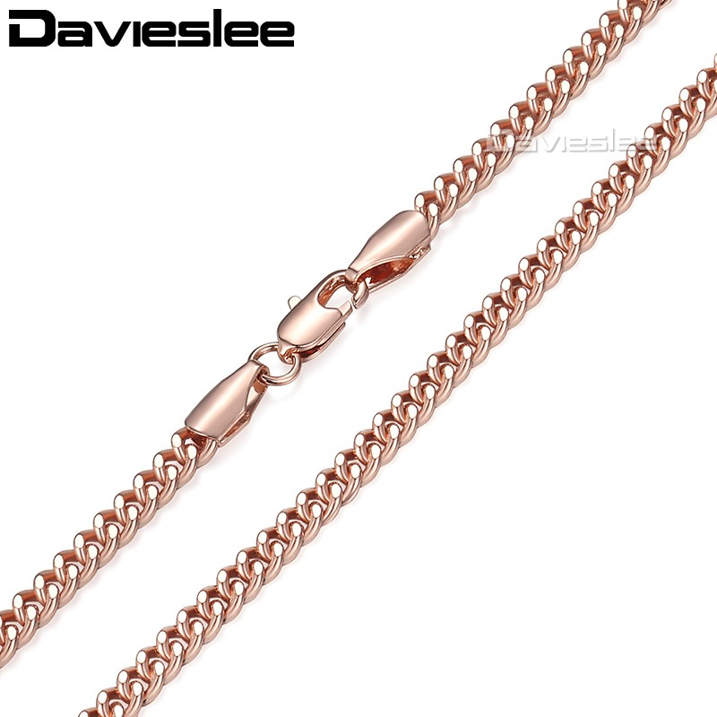 Davieslee 585 Rose Gold Filled Necklace for Women Mens Chain Flat Cut Round Link Wholesale Jewelry 3mm LGN220