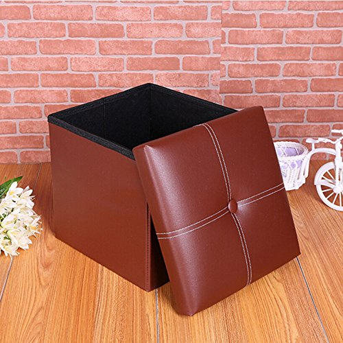 leather folding organizer storage ottoman bench storage box storage footrest stool coffee table cube - Storage Cube Ottoman