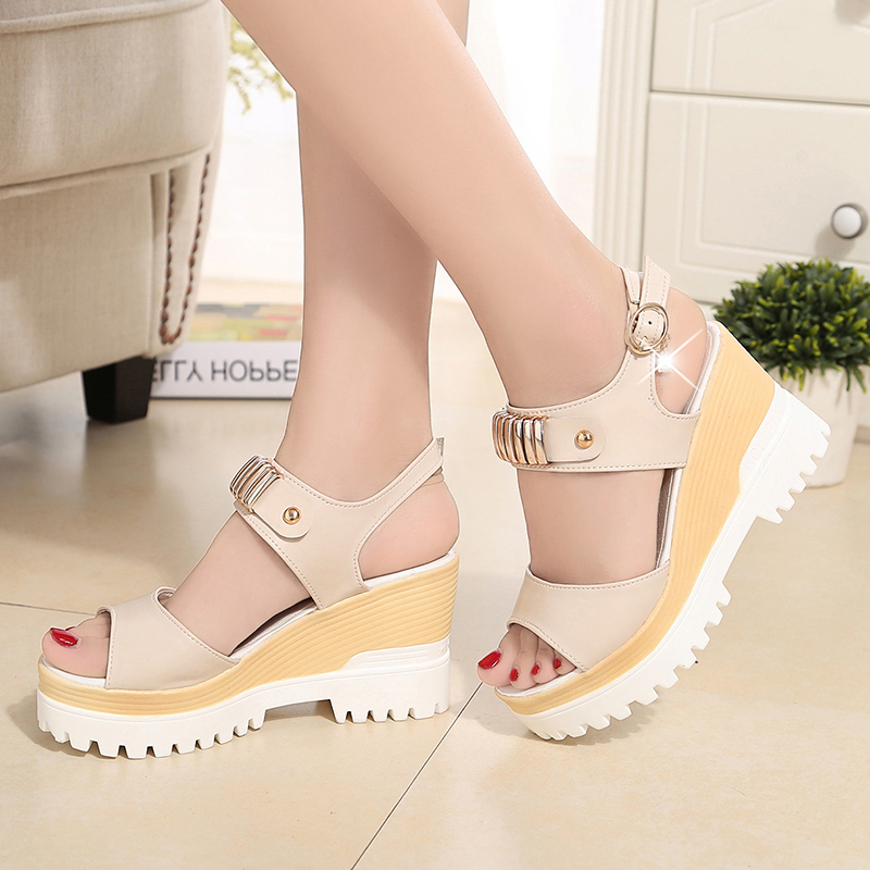 ankle strap women open toe Peep Toe shoes Rhinestone lady Buckle platform woman thick sole wedges Sandals Beige blue pink White  karinluna popular women sandals ankle strap buckle small bowtie crystal bordered wedges open toe platform party shoes for women
