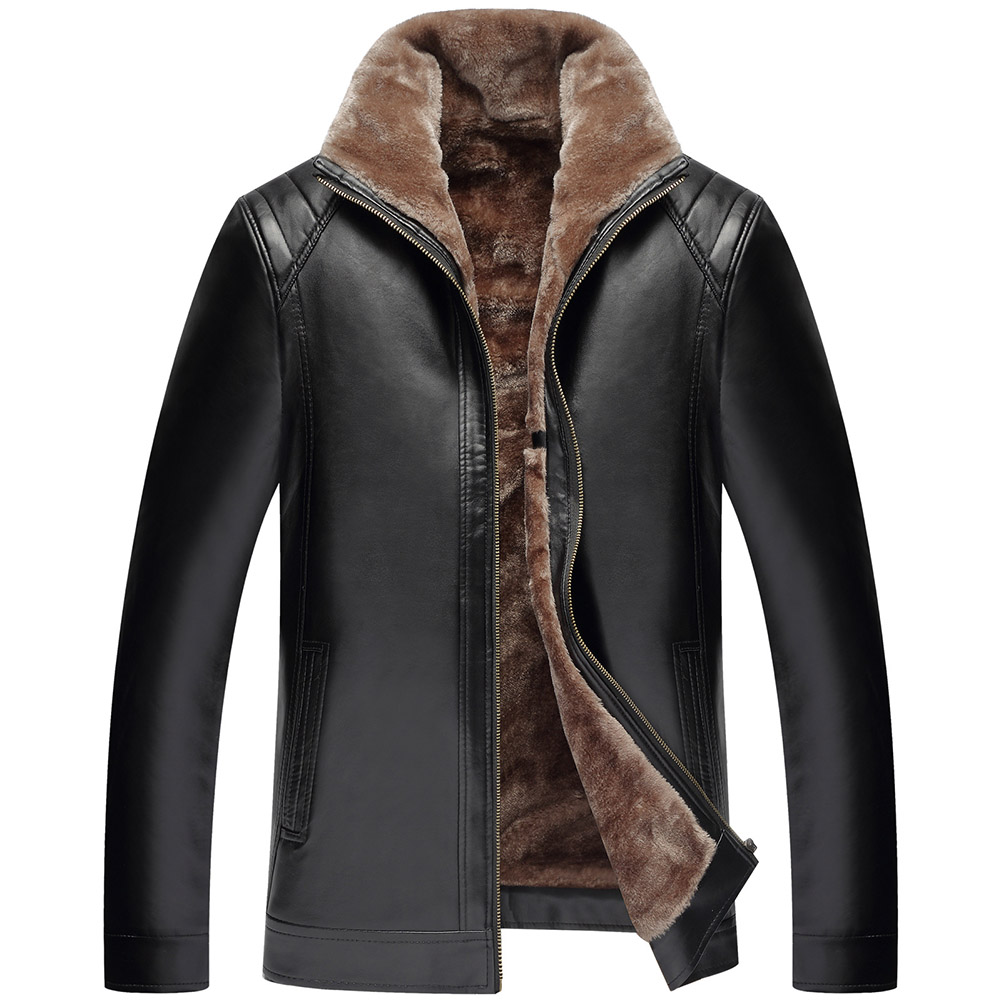 2018 New Winter warmth leather jacket Mens Fashion Casual Leather clothes Zipper Black and Brown New Men Fur Coats High Qualit