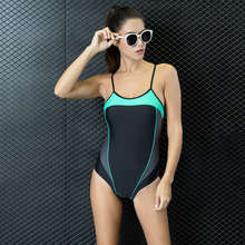 Women Swimming Sports Suit Patchwork Adjusted One Piece SwimSuit Tankini Beach Bathing Swim Suits Set Push Up Slim Swimwear 7708