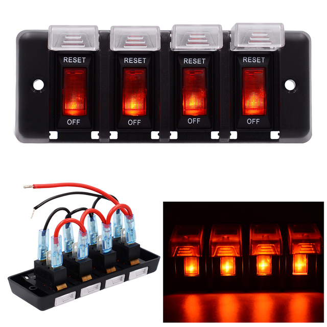 Waterproof Car and Boat 4 Gang12V Panel Red LED Switch Circuit ...