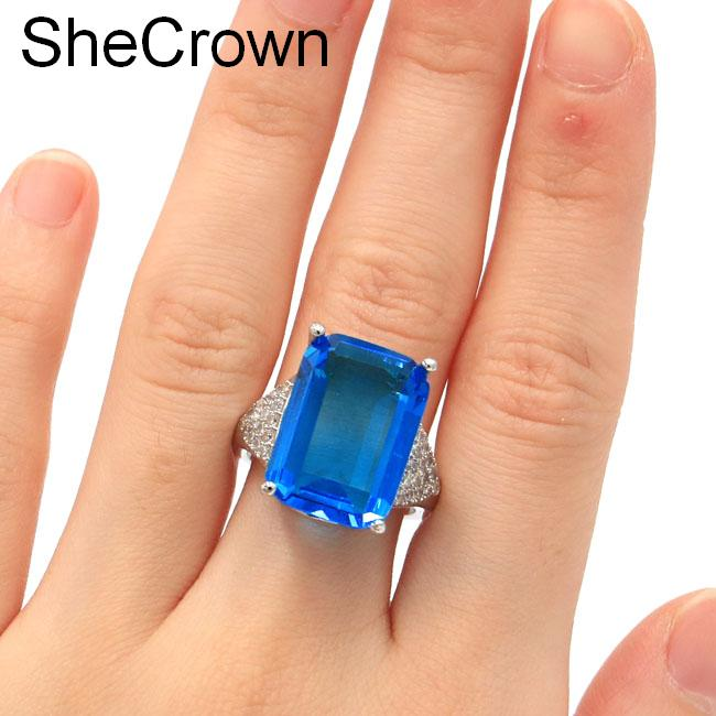 SheCrown 18x13mm Rectangle Paris Blue Topaz White CZ Gift For Girls Silver Rings 20x18mm(China)