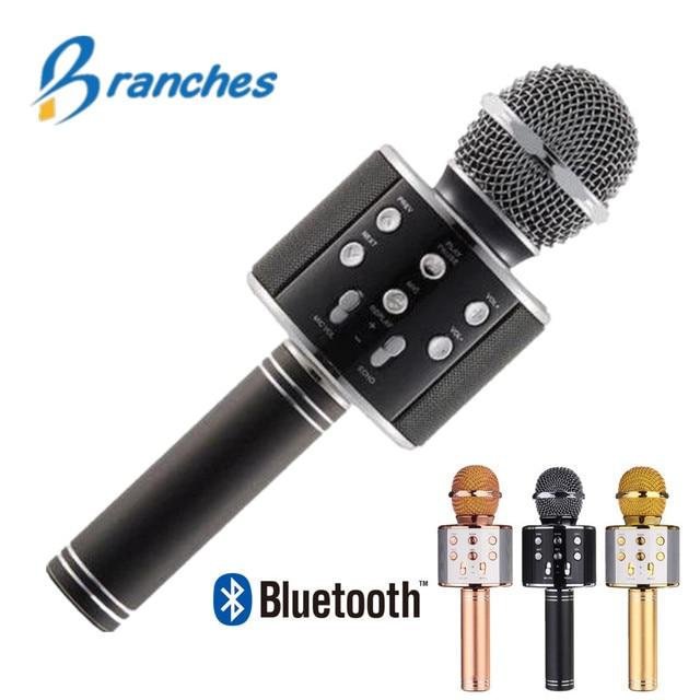 Bluetooth mikrofon WS858 כף יד אלחוטי קריוקי מיקרופון טלפון נגן מיקרופון רמקול שיא מוסיקה KTV Microfone עבור iPhone מחשב
