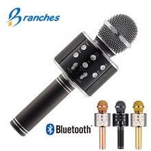 Mikrofon Bluetooth WS858 ręczny bezprzewodowy mikrofon Karaoke telefon odtwarzacz MIC głośnik nagrywanie muzyki KTV Microfone dla iPhone PC