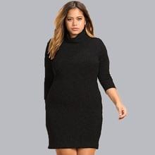 Sale Big Size Women Clothes 2018 Autumn Winter Dresses Large Sizes Knitted Dress Turtleneck 6XL Plus Size Vestidos Moda Feminina