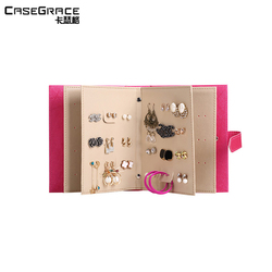 Casegrace women earrings gift storage box book shape glossy leather rectangle pink jewelry organizer brand box for girl 01114