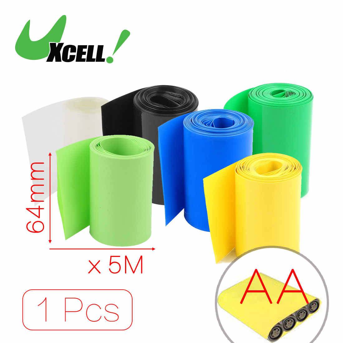 Uxcell 1pcs Hot Sale 5Meter Length 64mm 70mm Width PVC Heat Shrink Wrap Tube For AA Battery Pack Yellow Black Blue Clear Green коньки onlitop pvc 64mm 1231426