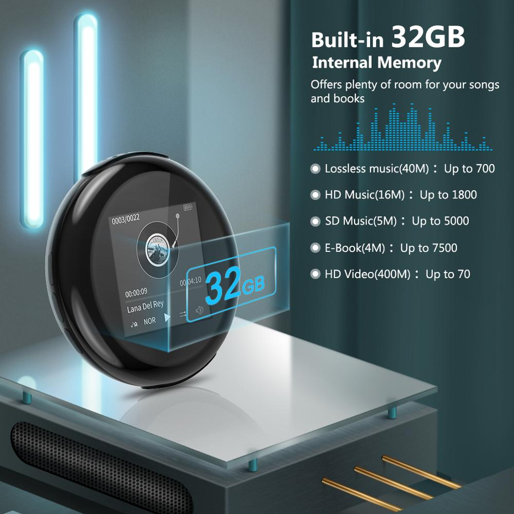 Nouveau Top vente mode Portable sans fil Mini lecteur MP3 LCD écran Support 32 GB Micro HIFI Slick design élégant Sport Compact