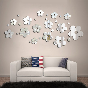 Flower Crystal Acrylic Mirror Decorative Sticker 3D DIY Wall Sticker Wall Decal Home Decol Home Decoration Bathroom Shower Room 9