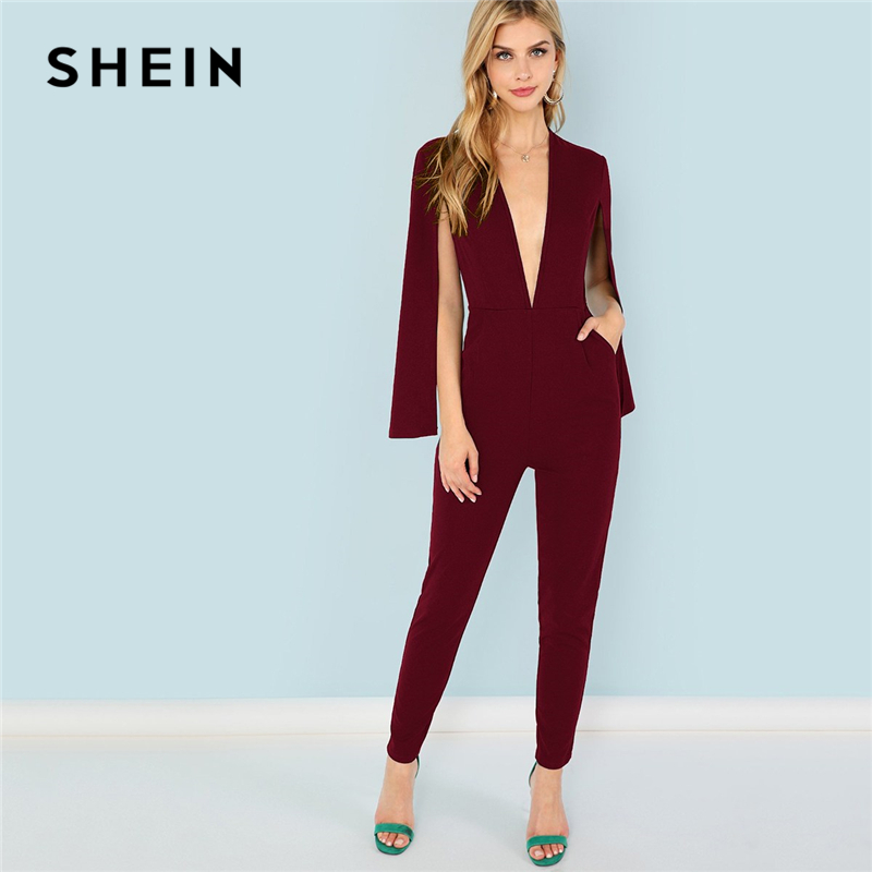 15d2a229e7658 SHEIN Burgundy Office Lady Solid Pocket Plunging Neck Cloak 3/4 Sleeve Maxi  Jumpsuit Autumn