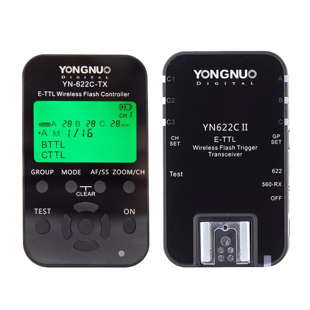YONGNUO YN622C KIT Including YN622C-TX Controller and YN622C-II-RX Single Transceiver Wireless E-TTL Flash Trigger Kit For Canon yongnuo yn622c ii hss e ttl flash trigger for canon camera compatible with yn622c yn560 tx rf 603 ii rf 605