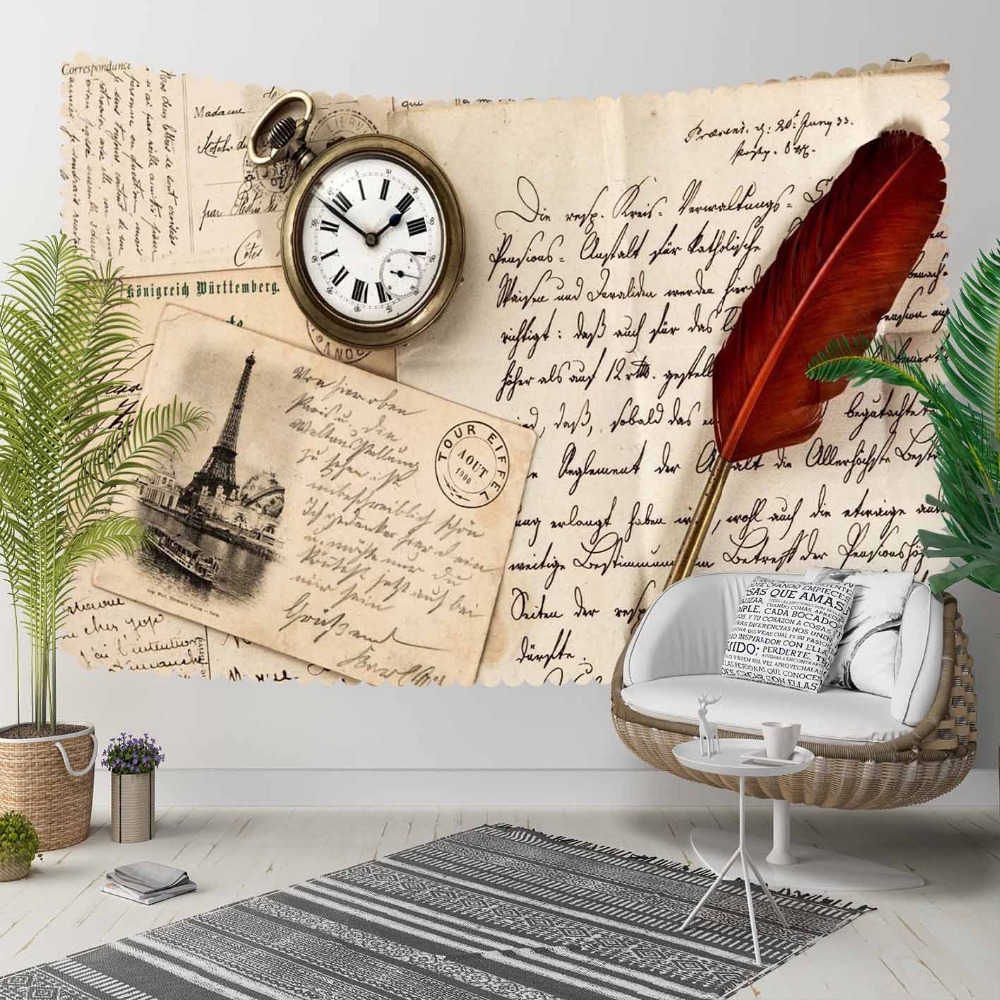 Else Brown Floor Black Writen Red Feather Pencil 3D Print Decorative Hippi Bohemian Wall Hanging Landscape Tapestry Wall Art