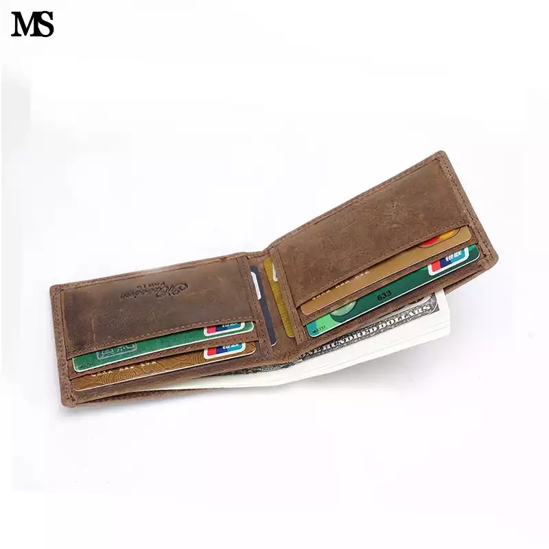 MS Random Logo Crazy Horse Leather Fashion Men Money Clip Slim Bifold Wallet Vintage ID Credit Card Bag Money Wallet Coffee K125 photo review