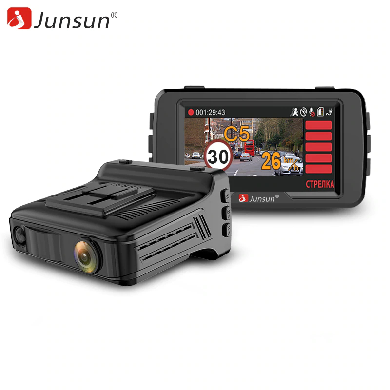 Dash Camera Junsun L6 Full HD 1296P Car DVR Top Radar Detector 3 in 1 Speed GPS  170 Degre Ambarella Registrar Car Electronics dash camera junsun a730 32gb 7 inch 3g car gps navigation android wifi dvr camera video recorder rearview mirror vehicle gps