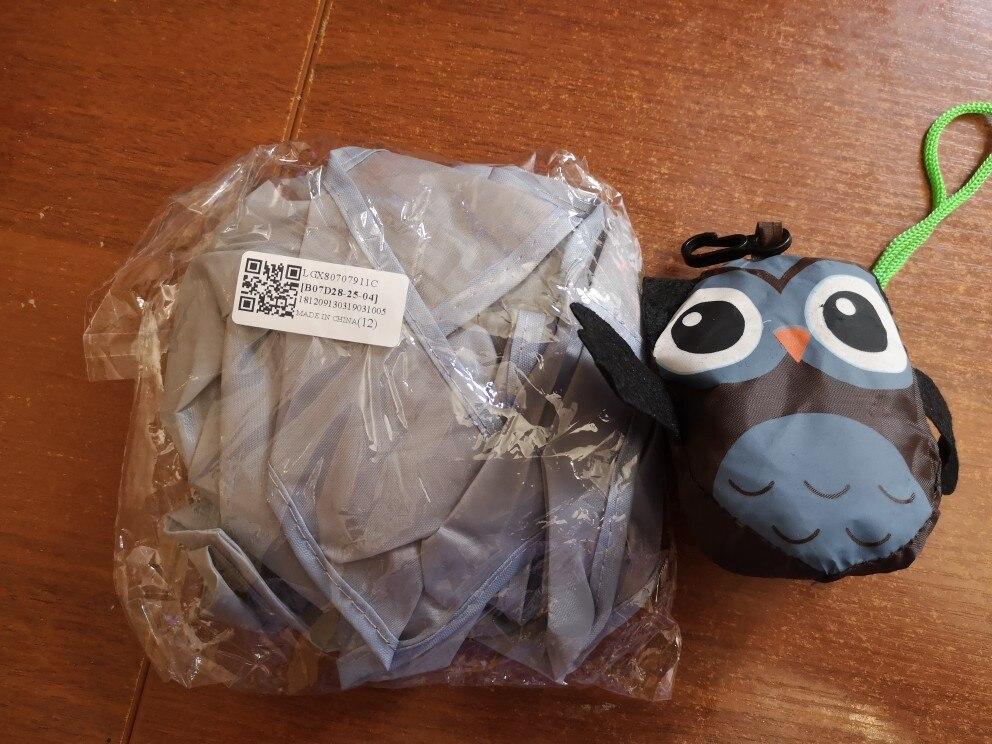 Travel Foldable Handbag Grocery Tote Storage Reusable Cute Animal Eco Friendly Shopping Bag Owl Folding Shopping Bag Tote Bag photo review