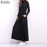ZANZEA Autumn Winter Maxi Long Dresses Brand Women Long Sleeve Turtleneck Solid Loose Pockets Oveisized Shirt
