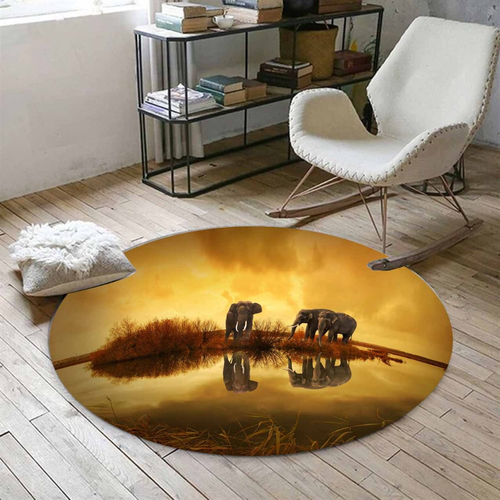 Else Brown Golden Yellow African Elephants On Rivers 3d Print Anti Slip Back Round Carpets Area Rug For Living Rooms Bathroom