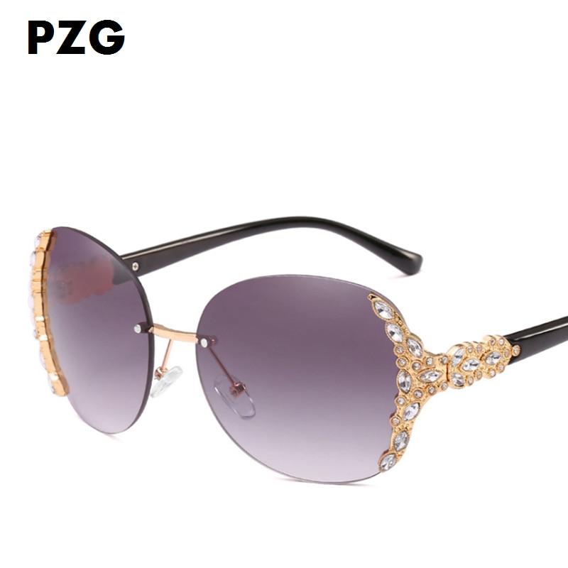 PZG luxe merk Rimless Eyewear Holiday Travel dames zonnebril frame - Kledingaccessoires