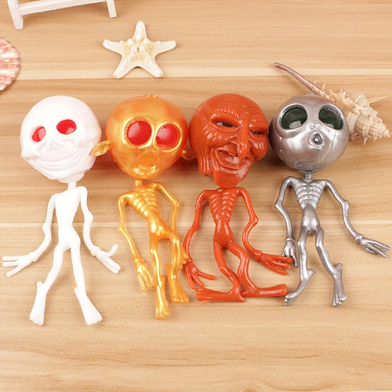 17cm Ghost Head Release Stress Ball Alien Squeeze Ball Decompression Toys Halloween Creative Spoof The Whole Person Small Gift