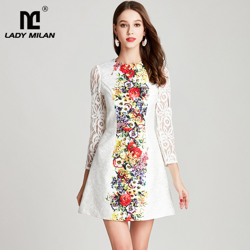 Lady Milan 2018 Womens O Neck Long Sleeves Floral Printed Dobby Lace Patchwork Fashion Short Summer Runway Dresses