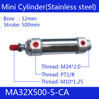MA32X500 S CA, Free shipping Pneumatic Stainless Air Cylinder 32MM Bore 500MM Stroke , 32*500 Double Action Mini Round Cylinders