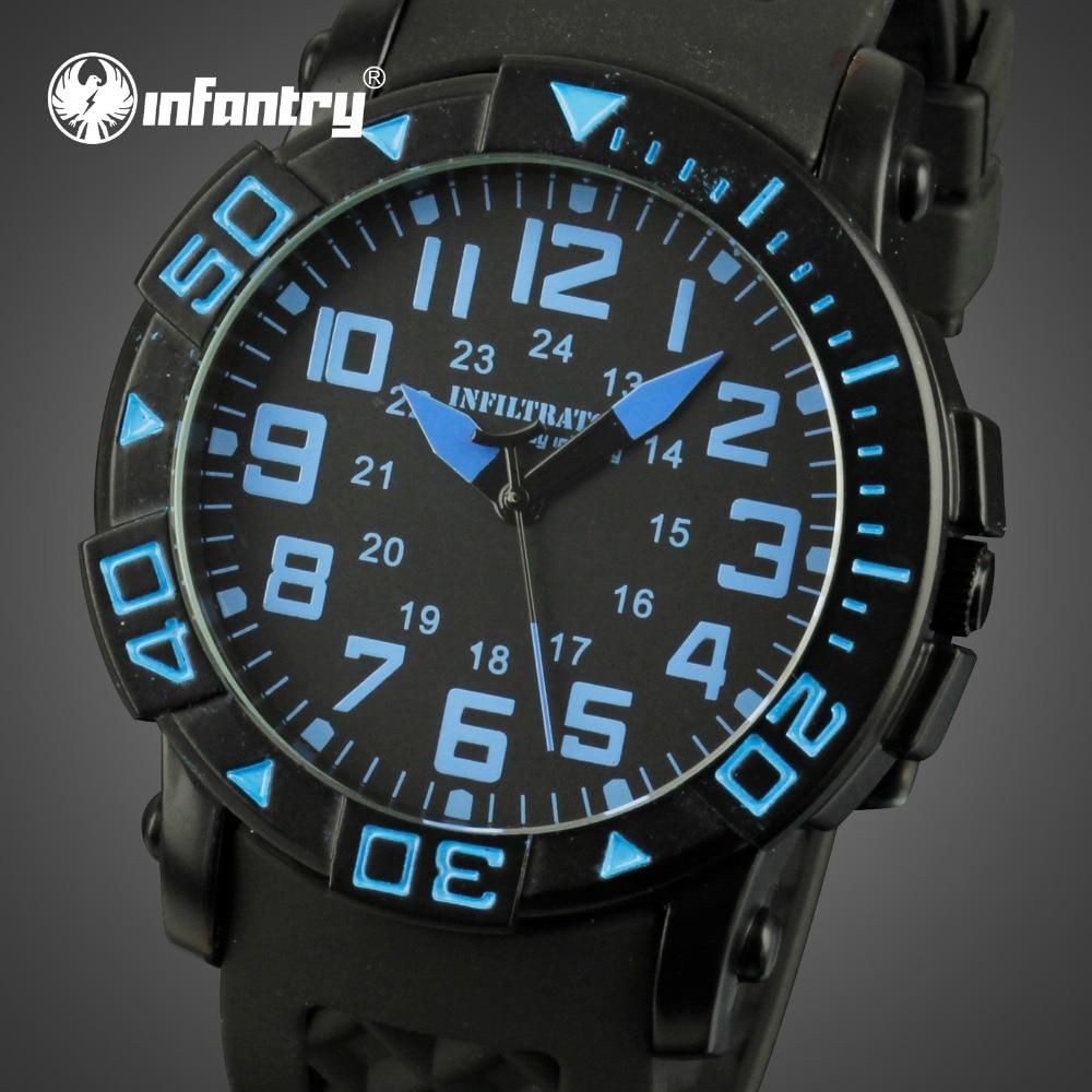 INFANTRY Men Quartz Watches Military Aviator Rubber Strap Sports - Men's Watches