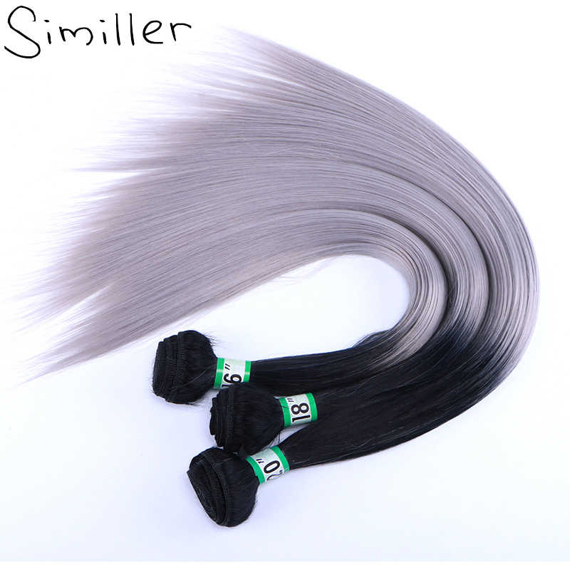 Similler Long Straight Synthetic Hair Weft Black T Grey Two Tones Ombre Bundles Weaving