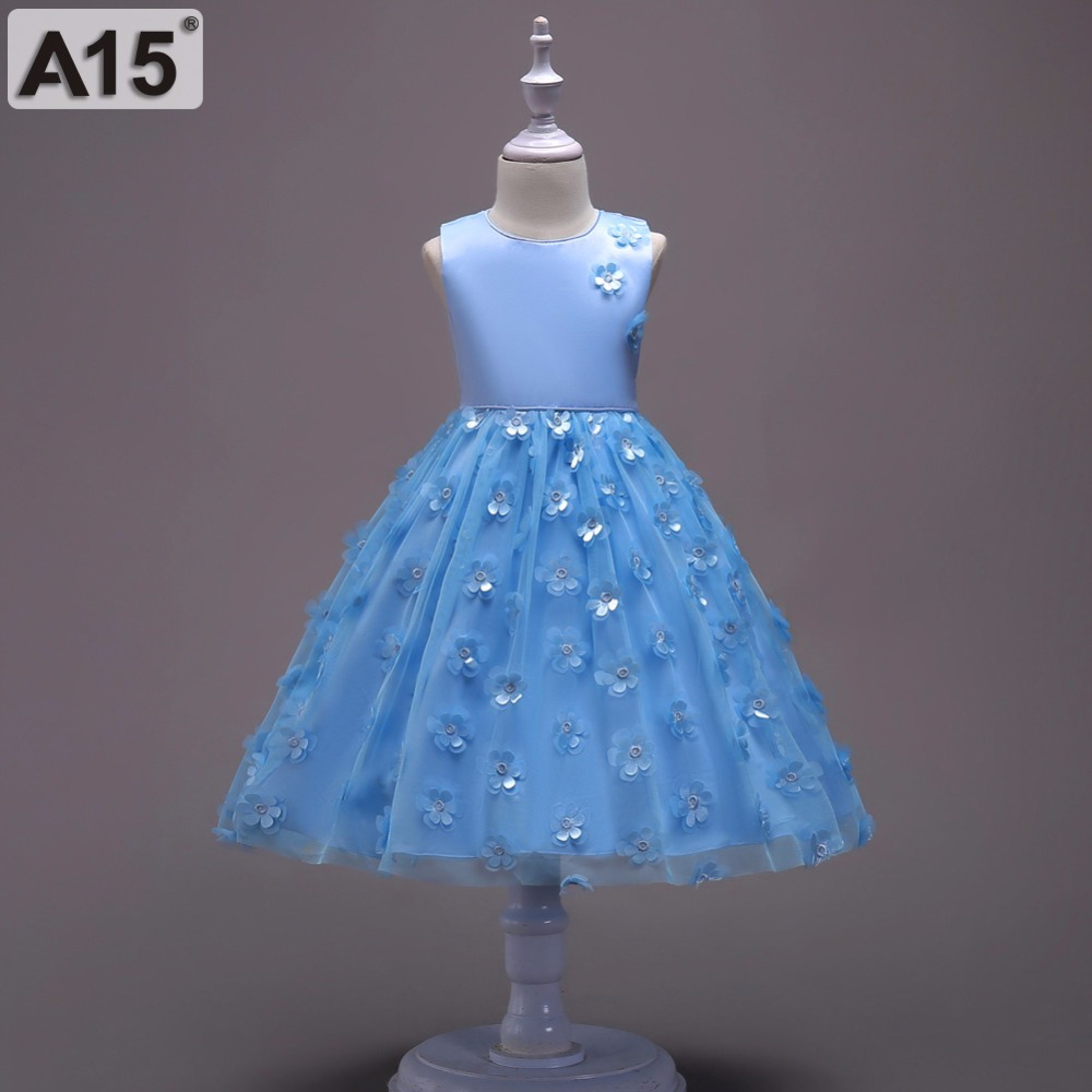 A15 Kids Girl Ball Gown Dress Toddler Girl Summer Lace Dress 3 5 6 8 Year Princess Birthday Party Dress Tutu Girls Dresses 2018 ems dhl free shipping toddler little girl s 2017 princess ruffles layers sleeveless lace dress summer style suspender