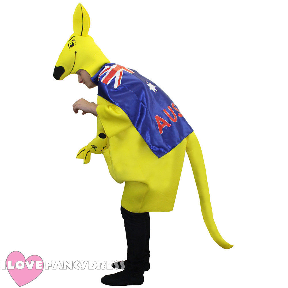 2018 KANGAROO COSTUME WITH AUSTRALIAN FLAG CAPE AUSTRALIA DAY MENS LADYS ADULTS RUGBY Eurovision FANCY DRESS