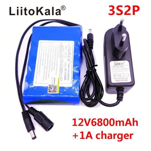 LiitoKala Portable Super 18650 Rechargeable Lithium Ion batterie capacité cc 12 V 6800 Mah CCTV Cam moniteur 12.6V 1A chargeur