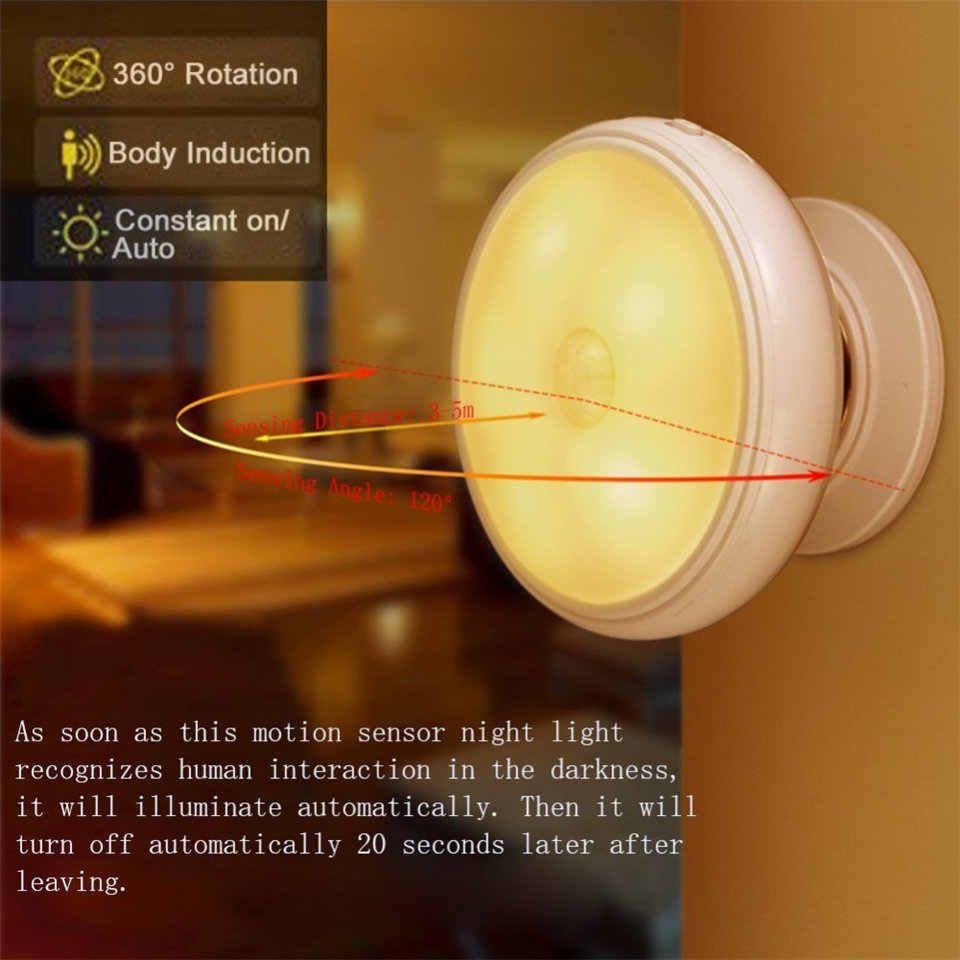 360 Degree Rotating Rechargeable Motion Sensor kids room LED Night Light Security Wall lamp for Home Bedroom Stair Kitchen