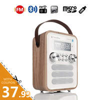 InstaBox i10 Digital FM Radio Multi Functional MP3 Player Wooden Clock Radio Handle Portable Retro Bluetooth Speaker Micro SD/TF