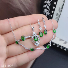 KJJEAXCMY Fine Jewelry 925 sterling silver inlaid natural diopside gemstone female pendant ring earrings bracelet set to send ne natural quality goods color ice stone bracelet send certificates send jewelry box
