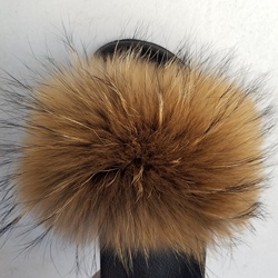 Echt Fell Hausschuhe Frauen Fox Großhandel Jamacia Flauschigen Sliders Komfort Natürliche Feder Pelzigen Sommer Wohnungen Süße Damen Schuhe Logo