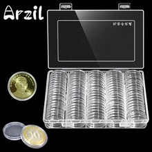 100Pcs/Box Coin Box Clear 30mm Round Boxed Coin Holder Plastic Storage Capsules Display Cases Organizer Collectibles Gifts