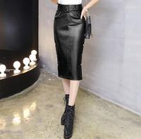 High Waist PU Leather Skirt Elegant Zipper bead long Skirts Womens